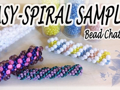 Bead Chat #15 Samples of easy spiral to create bracelets or necklaces