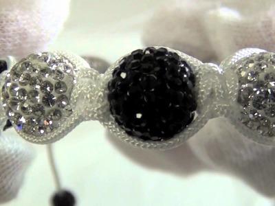 Bling Bling Black & White 12mm Disco Ball Bracelet White Rope Hip Hop Jewelry
