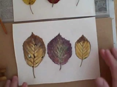 Full Watercolor lesson tutorial paint Autumn Leaves, no drawing required!