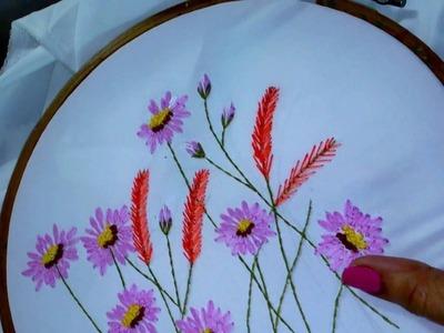 Hand embroidery designs. Lazy daisy stitch, Long lazy daisy, feather stitch.