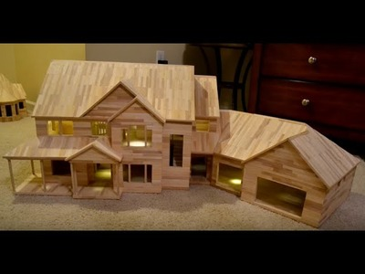 Building Popsicle Stick Mansion - Behind the Scenes RAW Time Lapse Footage