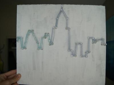DIY - City Skyline (w. thumbtacks and string)
