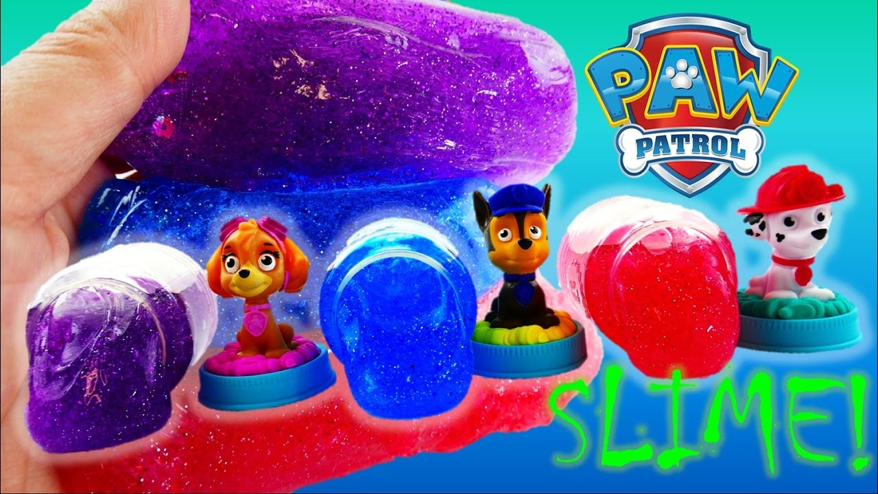 DIY Make Paw Patrol Glitter SLIME Putty with Marshall Chase Skye | Evies Toy House