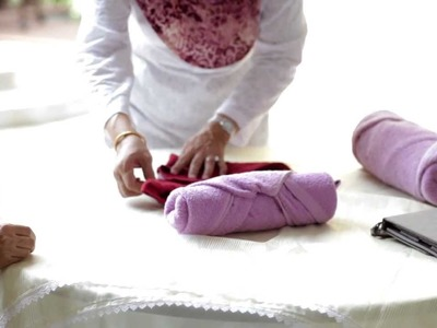 How to fold towels for easy storage.