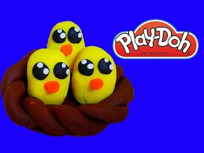 How to make Play Doh Birds and Nest | Como hacer nido de pajaros con Play Doh