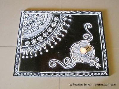 Innovative free hand rangoli design in black and white | Rangoli designs by Poonam Borkar