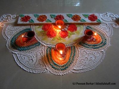 Beautiful and innovative semi circle rangoli | Diwali special rangoli designs by Poonam Borkar