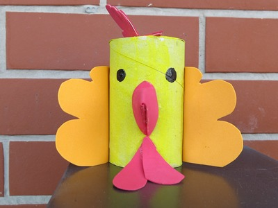 DIY Toilet Paper Tube Rooster. Easy Crafts for Kids.