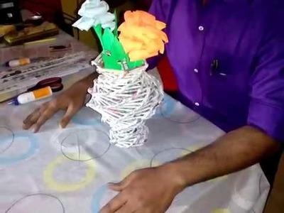 Flower vase with waste paper