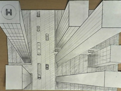 How to draw - one point perspective, 3d illusion, high-rise buildings