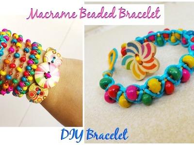 How to make a macrame bracelet with beads   DIY bracelet   part - 4