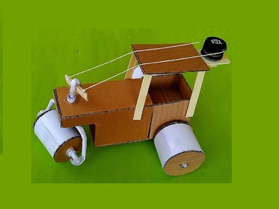 How to make paper & cardboard road roller - toy for kids story game - sdik rof
