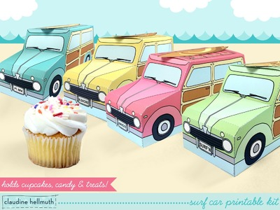 Make a retro woody surf car cupcake and party favor box
