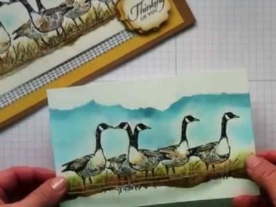 Mirror image and sponging cardmaking Techniques . Wetlands Stamp set by Stampin' Up!