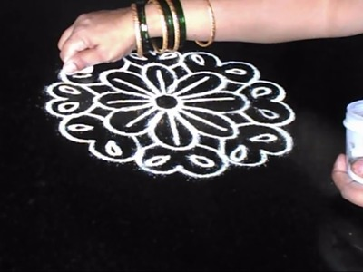 Simple free hand rangoli for Diwali | Traditional rangoli designs making at home  | Sudha Balaji