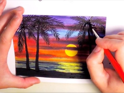 Watercolor Painting SUNSET WITH PALM TREES - SPEED PAINTING How to paint a Seascape Ocean Nature