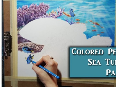 Colored Pencil Sea turtle part 1 - background water and coral w. lachri