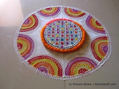 Creative and unique multicolored rangoli | Innovative rangoli designs by Poonam Borkar