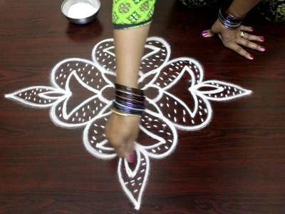 Deepam muggulu designs with 7 to 1 straight dots-kolam designs-muggulu designs-easy rangoi designs