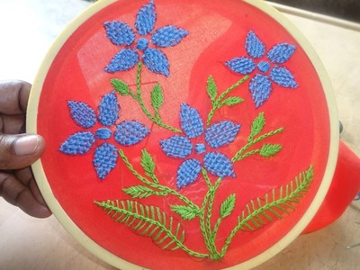 Hand Embroidery Checkered Flower Stitch by Amma Arts