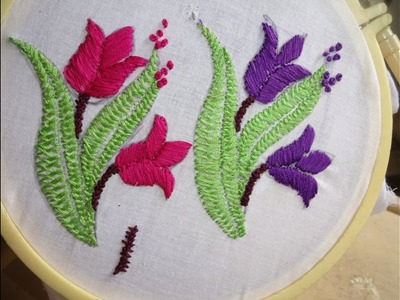 Hand Embroidery Flower Designs Herring, Satin Stitch. by Amma Arts