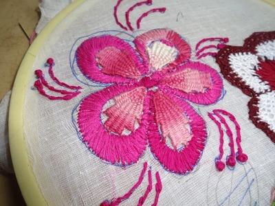 Hand Embroidery Kamali Work, Satin Stitch Flower Designs by Amma Arts