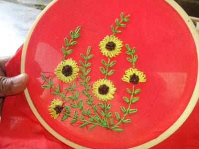 Hand embroidery: Lazy Daisy Stitch Flower Designs By Amma Arts.