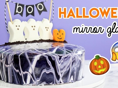 How to Make a Halloween MIRROR GLAZE Cake!
