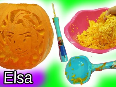 Carving Disney Frozen Queen Elsa Into Big  Halloween Pumpkin with Surprise Blind Bags Inside