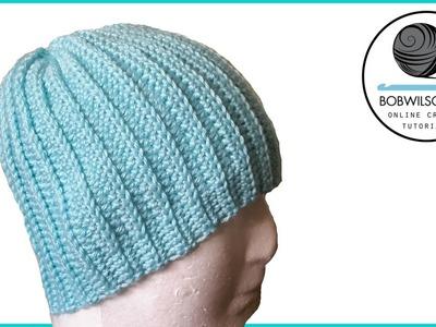 Crochet knit look hat tutorial   EASY