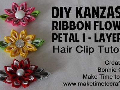 DIY Kanzashi Ribbon Flower LAYERED Petal #1 Hair Clip Tutorial with Really Reasonable Ribbon