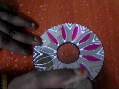 Easy Diwali  art and craft | CD rangoli designs | simple Diwali rangoli decoration ideas for diya