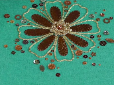 Hand Embroidery - Goldwork Spangles & Sequins tutorial.