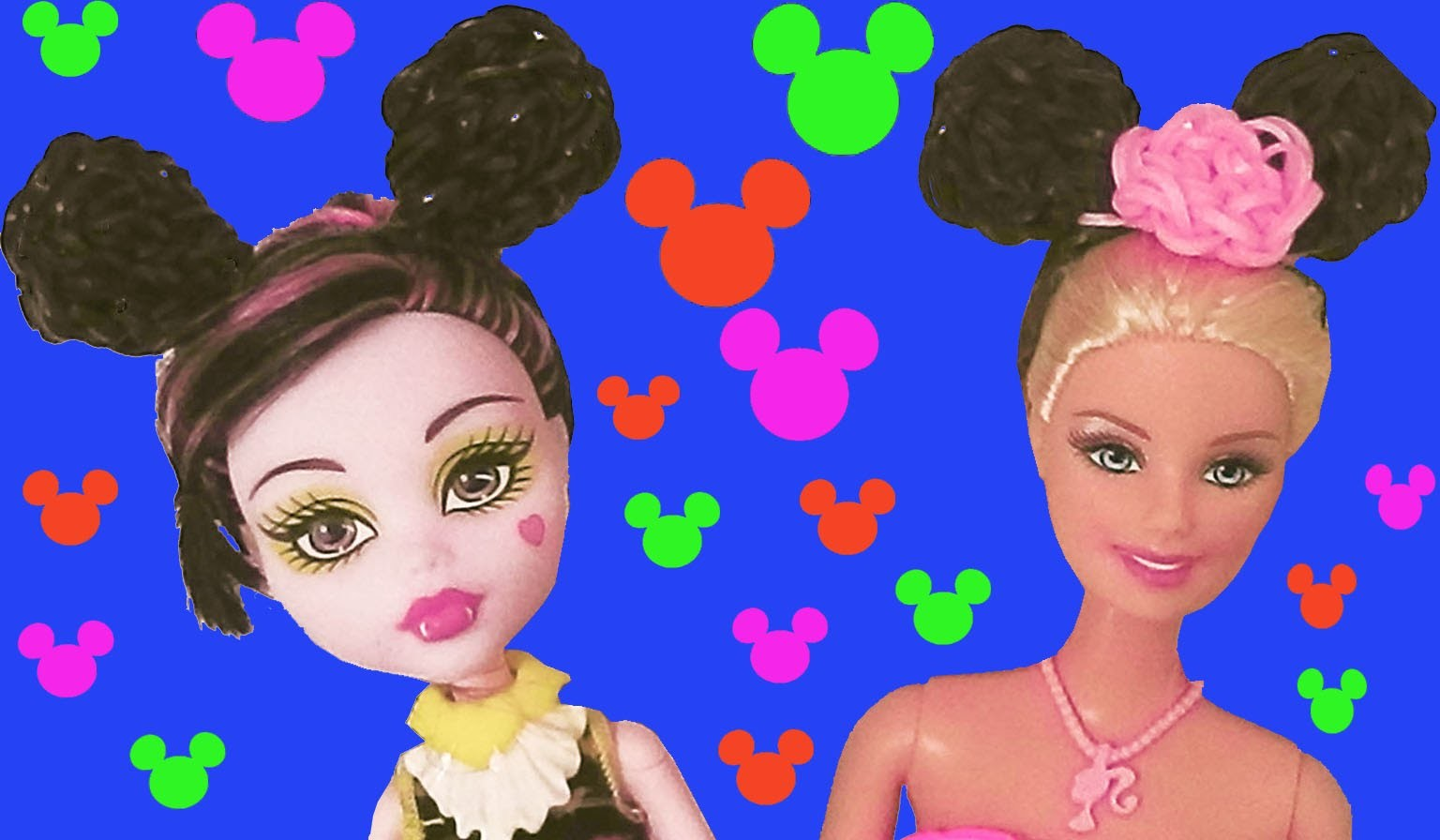 How to make a headband with mickey ears for barbie doll with loom bands without rainbow loom 2 forks