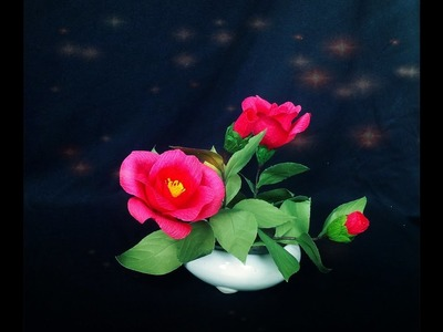 How To Make Camellia Flower From Crepe Paper - Craft Tutorial