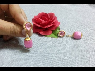 How to make Silk Thread Bead Earring  with quilling stud at home - Tutorial