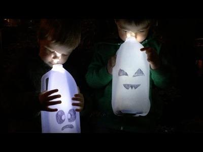 Kids Halloween Craft: DIY Cute Ghosts Using Milk Jugs