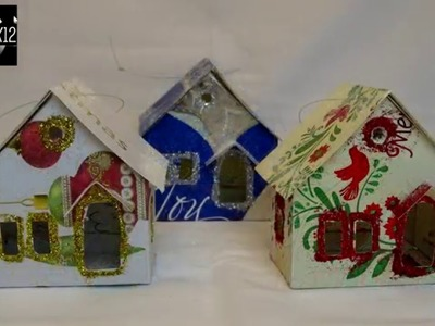 """Putz """"Glitter"""" House Ornament Using Recycled Christmas cards-with yoyomax12"""