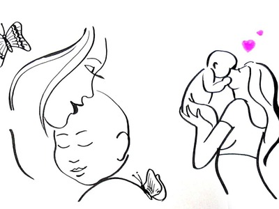 Simple line Drawing of a Mother and Child