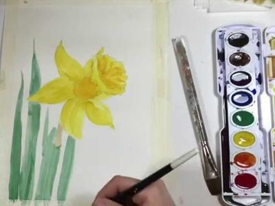 Watercolor Daffodil Tutorial