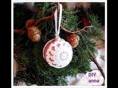 Christmas balls decoupage shabby chic with lace DIY ideas decorations craft tutorial. URADI SAM
