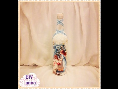 Christmas decoupage bottle DIY shabby chic ideas decorations craft tutorial. URADI SAM
