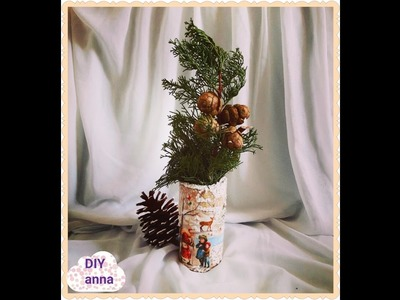 Decoupage Christmas decoration DIY ideas decorations craft tutorial. URADI SAM