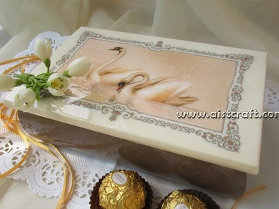 Decoupage tutorial for beginners - DIY.  Wedding gift box with rice paper by Aistcraft.com