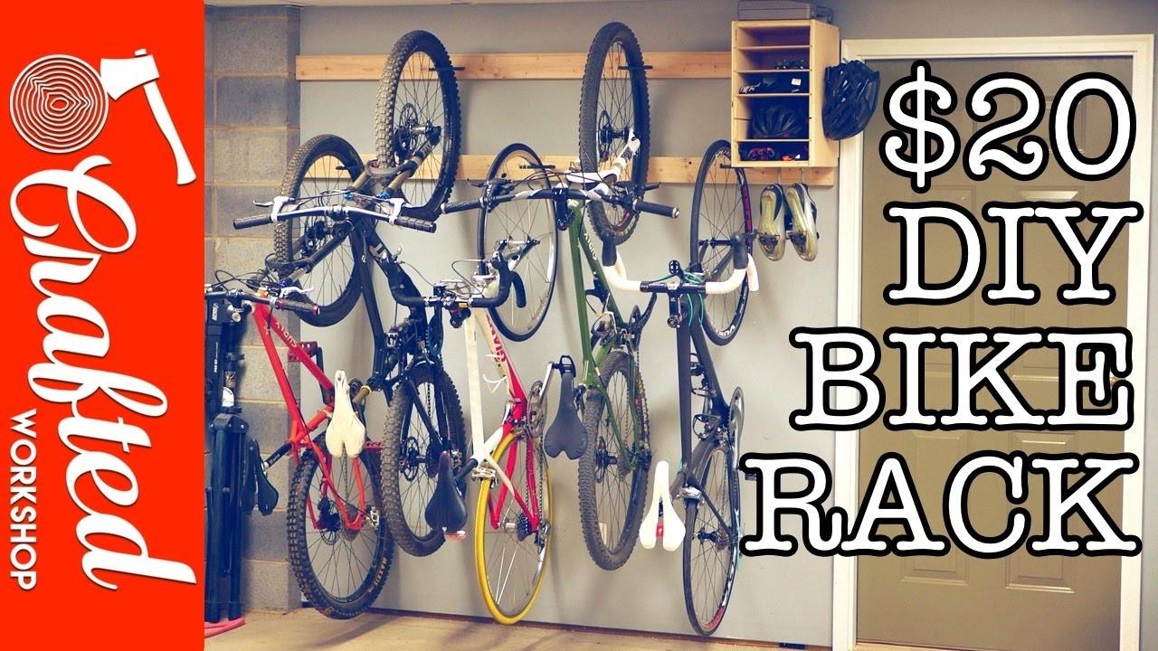 DIY Bike Rack for $20. Bike Storage Stand & Cabinet for Garage | Crafted Workshop