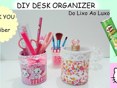 DIY Desk Organizer.Do Lixo Ao Luxo.DIY Pringles can hack.DIY Storage box.Diy Room decor