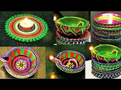 DIY Diwali Room Decor | Diya Stand from waste CD | DIY Diya from Bangles | Diya Painting