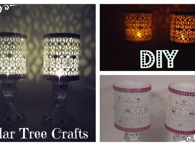 DIY - GLITTER BLING CANDLE HOLDER - DOLLAR TREE.MICHAELS CRAFT