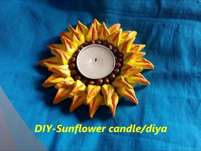 Diy-how to make beautiful sunflower diya.candle at home