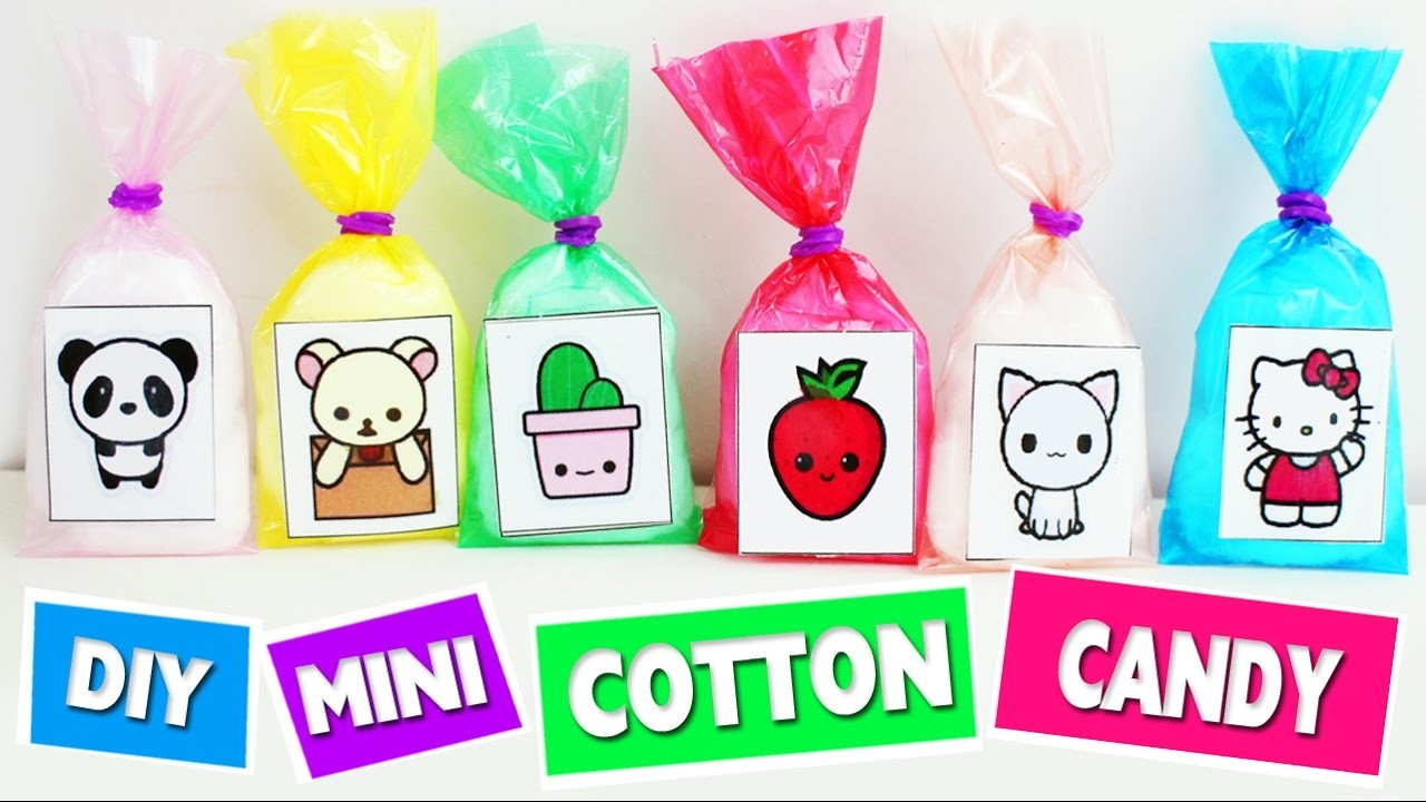 DIY Miniature Kawaii Cotton candy Bags - Easy doll Crafts - 5 minutes craft